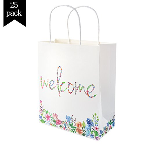 Crisky Kraft Paper Gift Bags Elegant Welcome Wedding Bags 25 pcs Flower Welcome Bags for Hotel Guests, Candy Buffet Bags, Bridesmaid Groomsmen Gift Bridal Baby Shower Favor Bags, 10