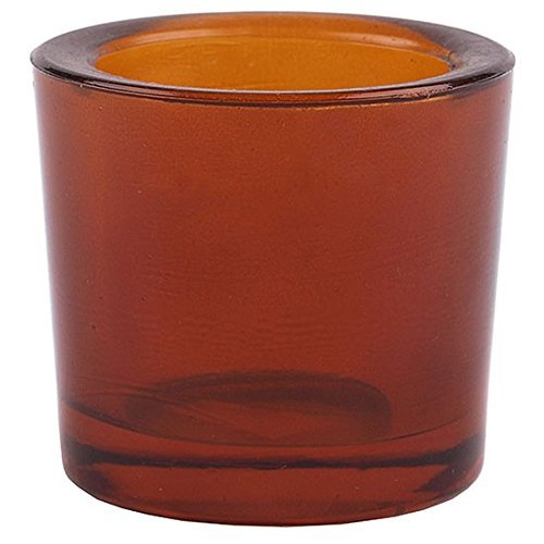 (Bluecorn Beeswax Heavy Glass Votive and Tea Light Candle Holders (1, Dark Amber))