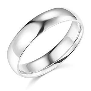 14k yellow or white gold 5mm solid plain wedding band