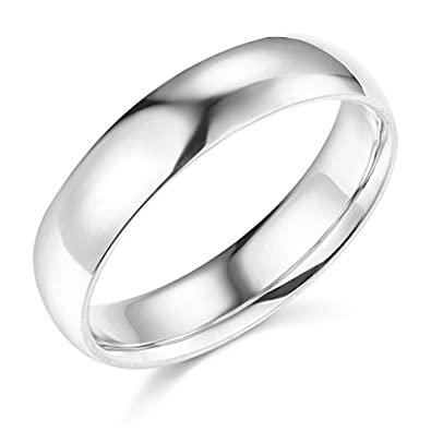 14k White Gold 5mm SOLID Plain Wedding Band