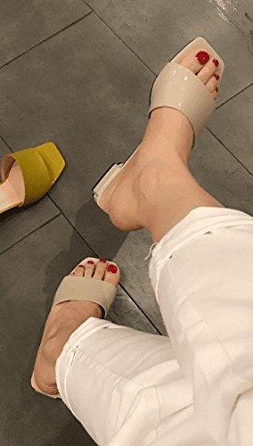 AWXJX Sommersaison Frauen Flip Flops Baotou Baotou Baotou Casual äußeren Verschleiß Hälfte Ziehen Wohnung mit Aprikose 7 US 37.5 EU 4.5 UK 4983b8