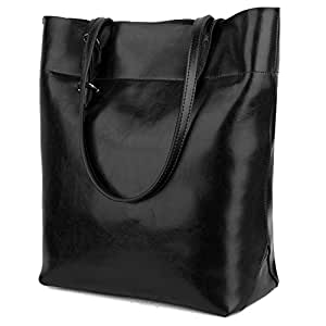 Yaluxe Women's Leather Tote Work Bag Purse Tall Shoulder Bag Zipper Closure Black 1