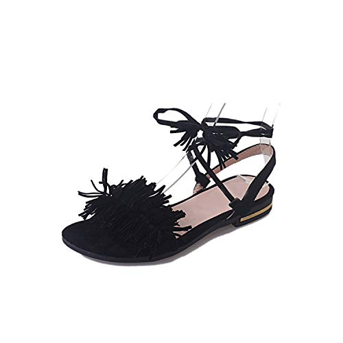 Sweet Studio Shoes Women Tassel Straps Flat Sandals for Women Summer Beach Shoes Black Green Red 35-40,Black,9