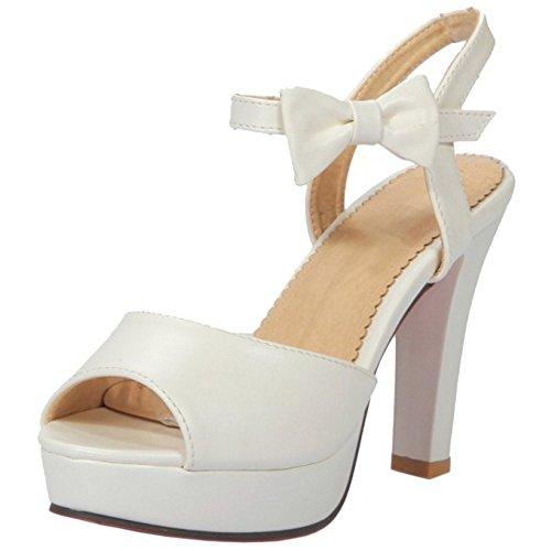 RAZAMAZA Mujer Elegante Plataforma Tacon Ancho Peep Toe Sandalias Blanco