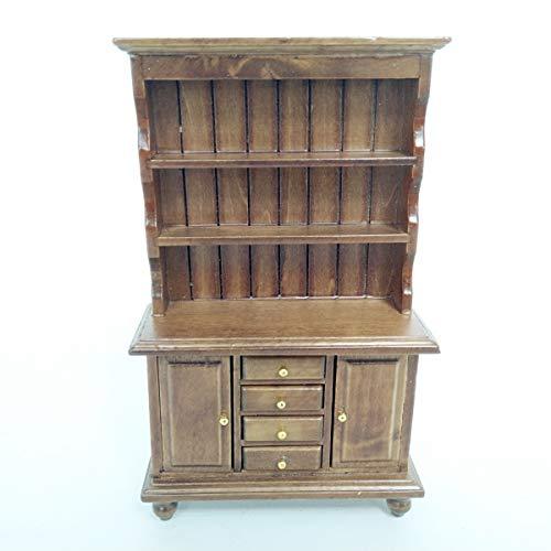 Scale Dollhouse Book Miniature (worldpeace09 Dollhouse Miniature Walnut Bookcase Cabinet Cupboard 1:12 Scale Model)
