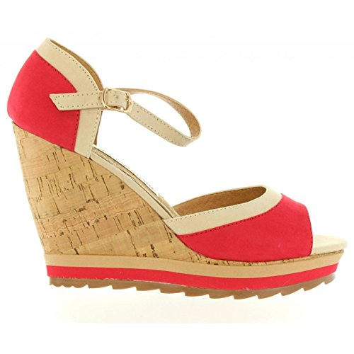 Zapatos de cuña de Mujer MARIA MARE 65895 TEXT ROJO-ARENA