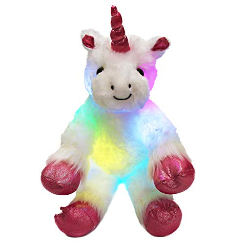 WEWILL LED Colorful Unicorn Stuffed Animal Light up Cozy Plush Glow Soft Toy Bedtime Companion Gift for Kids on Christmas Birthday Festivals, 16'' ()