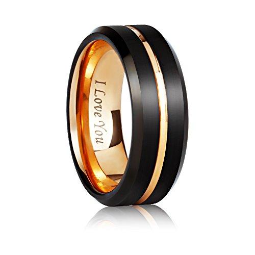 Angel King 8mm Tungsten Carbide Wedding Ring Engagement band for Men Women-Black Matte Brushed Finished Comfort Fit by Angel King (Image #1)