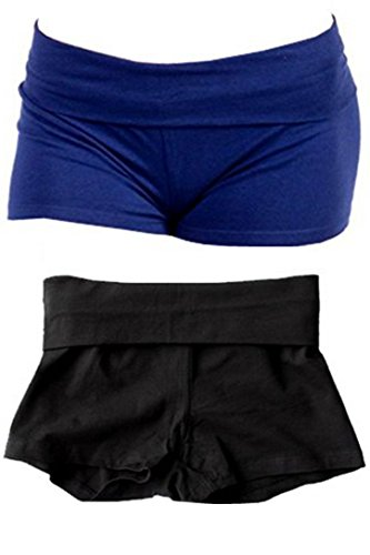 Solid Plain Color Yoga Fold Over Shorts Pants (Medium, 2 Pack: Black & Navy)