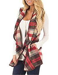 Womens Casual Lapel Open Front Plaid Vest Cardigan Coat...