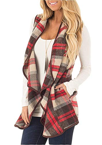(Unidear Womens Casual Plaid Print Sleeveless Open Front Cardigan Sweater with Pockets Light Red L)