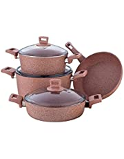 Granite Coating series 7pcs Cookware set, Pink stone, 45373