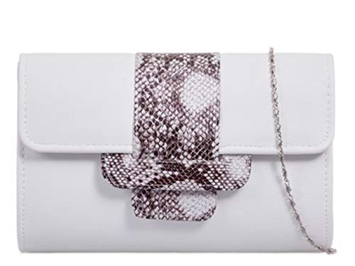 Snakeskin LeahWard Evening 948 Ladies Clutch Faux Handbags White Wedding Women's Bag Wedding rqprz7