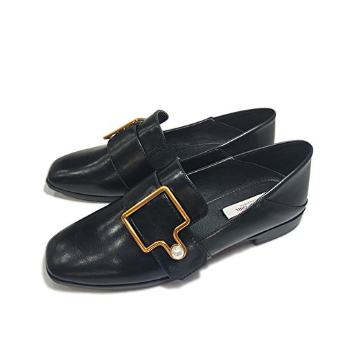 Low Women's Moccasin Wedge Toe Penny Buckle Square Retro T Shoes Black Loafers Western On JULY Slip zUxq5wBv4
