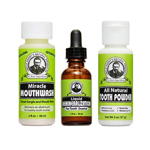 Uncle Harry's Natural Remineralization Kit for Tooth Enamel & Mineral - 3 Products Strengthen Weak Enamel & Correct Oral Care Issues (1 kit) (Best Mouthwash For Tooth Decay)