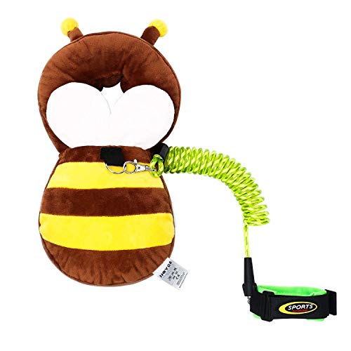 Toddler Harness Walking Leash, Baby Safety Walking Harness Kids Anti-Lost Belt for Boys and Girls Protect The Head of The Baby, Little Bee