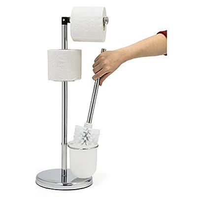 Tatkraft Wendy Toilet Paper Roll Holder Stand with Toilet Brush Holder, 2 in 1, Chrome Steel