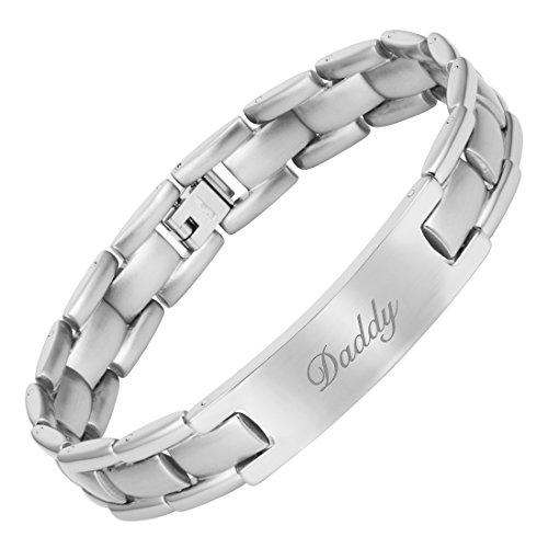DADDY Titanium Bracelet Engraved Love You Daddy with Adjusting Tool & Gift Box Included