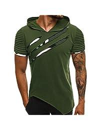 Colmkley Men's Patchwork Slim Fit Printed Shirt Short Sleeve Hoodie Tops Blouse