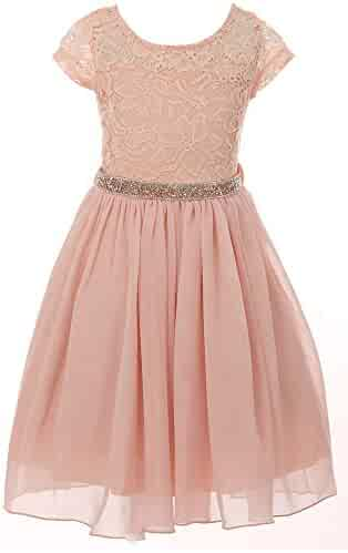 3bf5c84997 BluNight Collection Little Girl Cap Sleeve Lace Top Chiffon Holiday Easter Flower  Girls Dresses USA