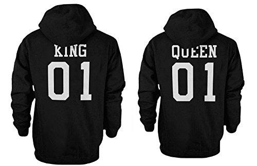 King 01 y de la Reina 01 Back Print Juego de Pareja Sudaderas con Capucha Cute con Capucha Sudaderas: Amazon.es: Ropa y accesorios