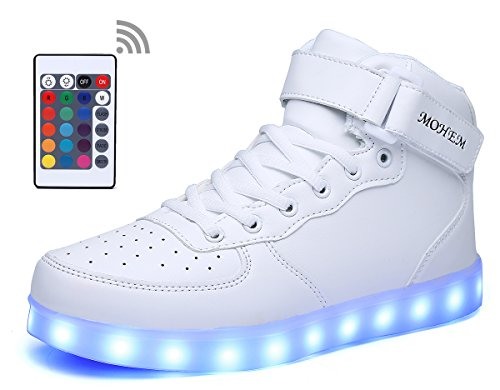 MOHEM ShinyNight High Top LED Shoes Light Up USB Charging Flashing Sneakers Great Gift For Halloween
