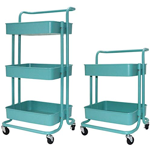 Metal Utility Cart Lockable with Removable Hooks Storage Bins Craft Art Carts for Home Office School Pink Gaming Desk EUREKA ERGONOMIC 3 Tier Rolling Cart
