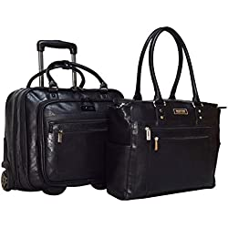 Kenneth Cole Reaction 2-Piece Carry On Set: Computer Tote and Wheeled Under Seat Bag (Black)