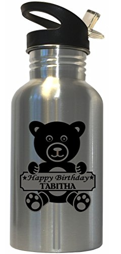 (Happy Birthday Tabitha Stainless Steel Water Bottle Straw Top)