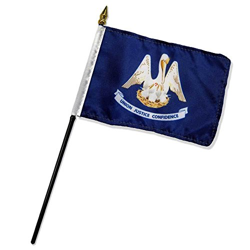 ALBATROS (6 Pack) State of Louisiana 4 inch x 6 inch with Stick for Desk Table Flag for Home and Parades, Official Party, All Weather Indoors Outdoors ()