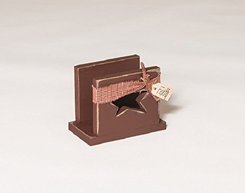 Rustic Primitive Country Star Cut Out Napkin Holder- GOLDEN OAK - Amish Made in USA