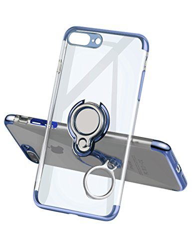iPhone 7 Plus Case 8 Plus Case,Meetree Phone Cover Clear Slim Ultra Thin Case 360 Rotating Ring Grip Holder Stand Magnetic for Car Mount Shock Absorption Bumper Case for iPhone 7 Plus 8 Plus(Blue)