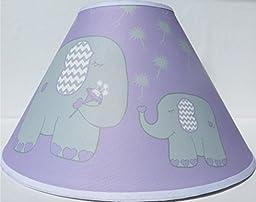 Purple Elephant Lamp Shade with Dandelions / Elephant Nursery Decor