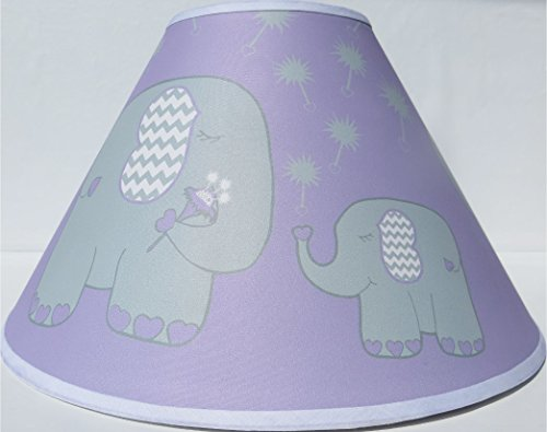 Purple Elephant Lamp Shade with Dandelions/Elephant Nursery Decor from Presto Lamp Shades