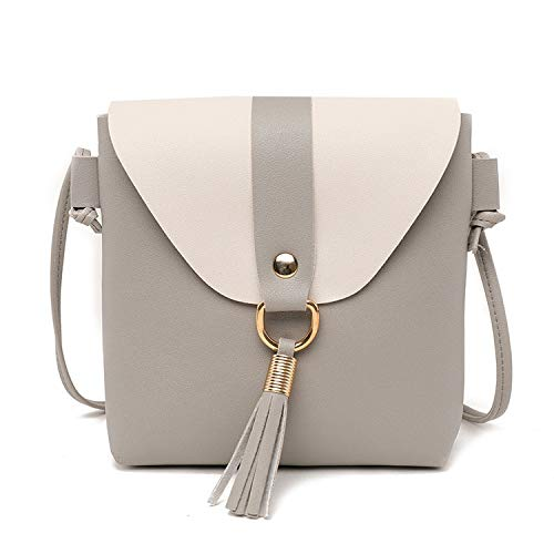 New PU Leather Women Bucket Shoulder Bag Fashion Panelled Tassel Crossbody Bag Female Messenger Bag Small Handbags,Light Grey