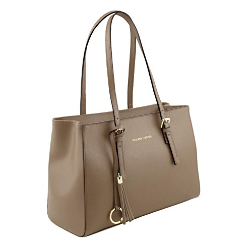 Tuscany Leather TL Bag - Borsa a tracolla in pelle Saffiano - TL141518 Talpa scuro