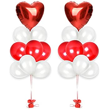 Valentineu0027s Day Gift Decorations Valentines Day Balloons Bouquet Ft. 18  Inches Red Heart Foil Balloons