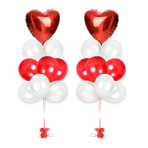 Valentine's Day Gift Decorations Valentines Day Balloons Bouquet ft. 18 Inches Red Heart Foil Balloons, White Pink Latex Balloons, Valentines Balloons a Great Gift for Him or Her (Red/White)