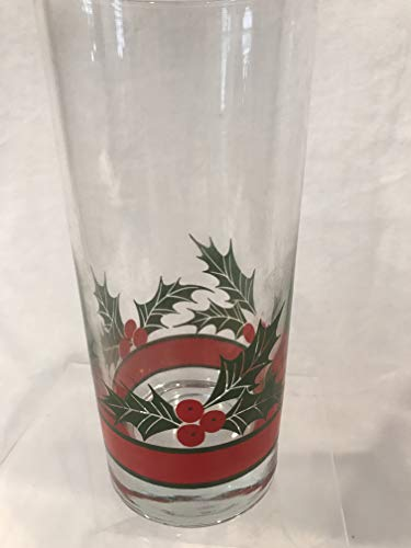 Holly Berry Drinking Glass, Holly Berry Glass Tumbler, Christmas Tumbler 6-1/4