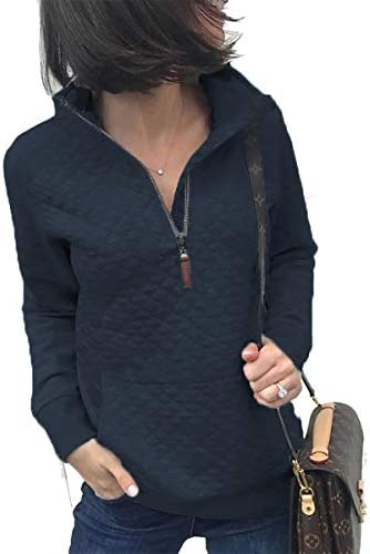 Women's Fashion Quilted Pattern Long Sleeve Casual Zipper Sweatshirt Solid Color Pullover Shirt Top.JNINTH