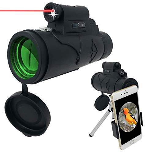 Monocular Telescope - 12x50 High Powered Spotting Scope for Adults and Children with Smartphone Adapter - Laser Pointer, Flashlight, BAK4 Prism, Multi-Coated Optic Lens for Increased Low Light Vision