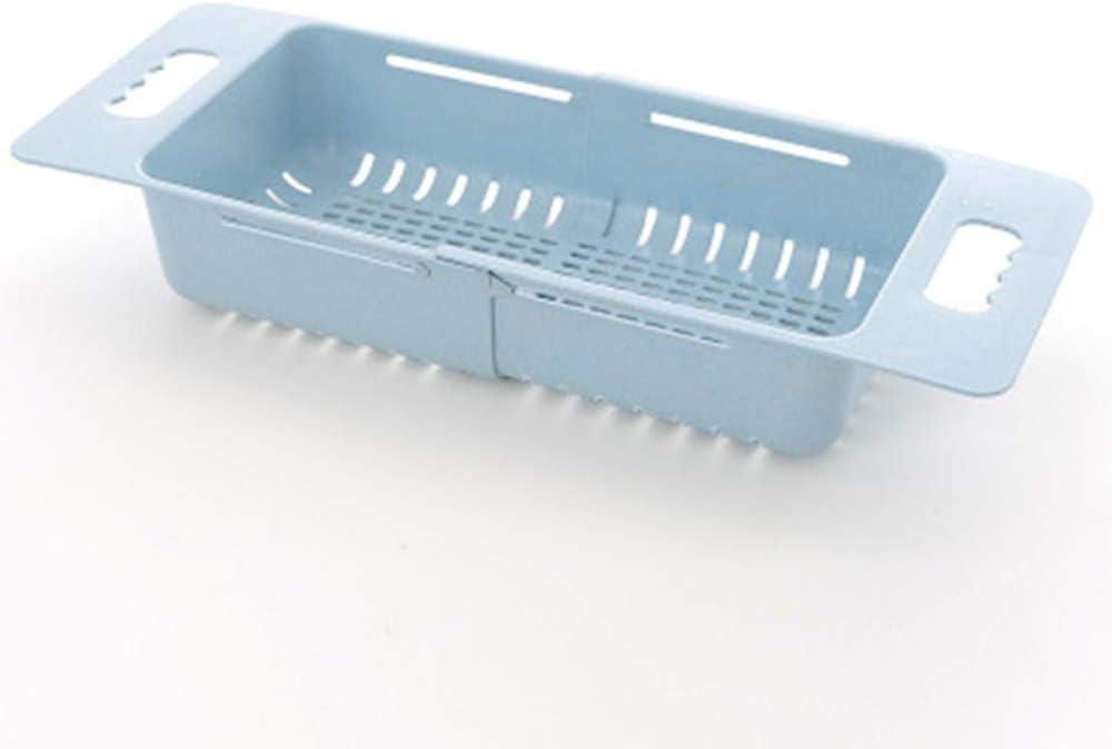 Jkhome Collapsible Over The Sink Colander Dish Fruit Vegetable Strainer Drainer Basket for Kitchen Set of 1 (Blue)