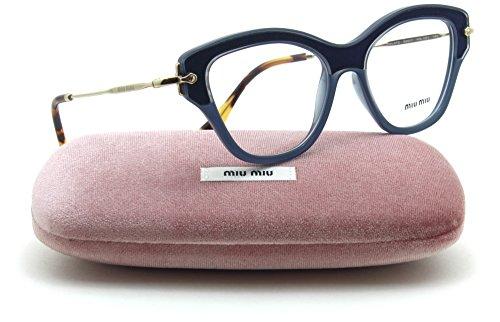 - Miu Miu MU 07OV NOIR Collection Women RX - able Eyeglasses w/ Silk Inserts (Blue VIG-1O1, 52)