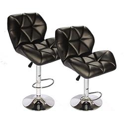 BestOffice SET (2) Black Bar Stools Leather Modern Hydraulic Swivel Dinning Chair Barstools
