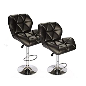 BestOffice Set of 2 Bar Stool Leather Modern Hydraulic Swivel Dinning Chair Barstools