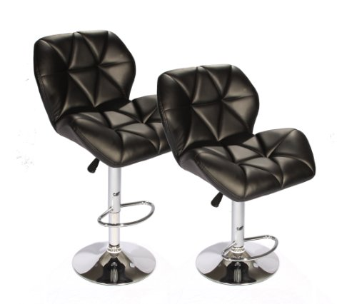 BestOffice SET of (2) Black Bar Stools Leather Modern Hydraulic Swivel Dinning Chair Barstools