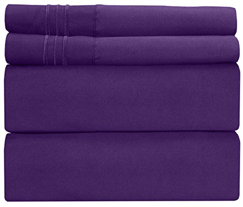 (King Size Sheet Set - 4 Piece Set - Hotel Luxury Bed Sheets - Extra Soft - Deep Pockets - Easy Fit - Breathable & Cooling - Wrinkle Free - Comfy - Purple Plum Bed Sheets - Kings Sheets - 4 PC)
