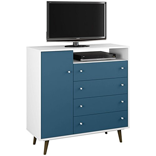 (Manhattan Comfort 210BMC63 Liberty Modern Bedroom Armoire and TV Stand, White/Aqua Blue )