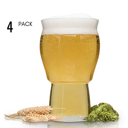 Pint Beer Glasses Soda - Muffin Top Nucleated Beer Glasses - Pint Glass - Cider, Soda, Tea (Muffin Top Clear 4-pack)