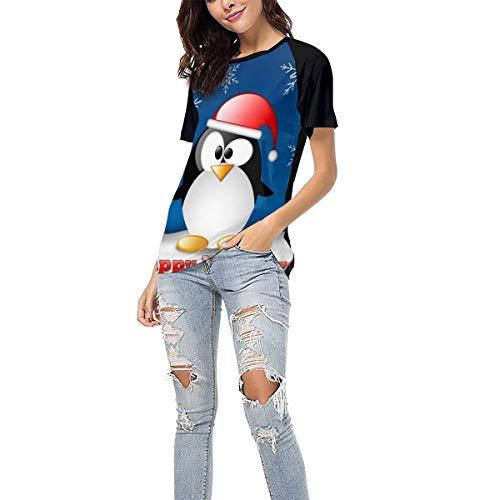Laki-co Women's Summer Short Sleeve - Happy Holiday Penguin Casual Raglan Tee Baseball Tshirts Tops Blouse XXL Black